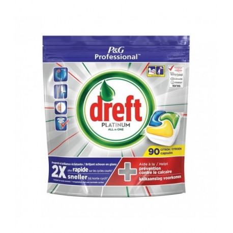 Kapsułki do zmywarki Dreft Platinum All in One  CITRON - 90 szt